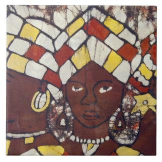 Materias textiles pintadas a mano que representan  azulejo cuadrado grande