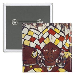 Materias textiles pintadas a mano que representan pin cuadrado