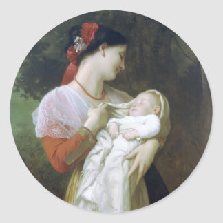 Maternal Admiration by William Adolphe Bouguereau Classic Round Sticker