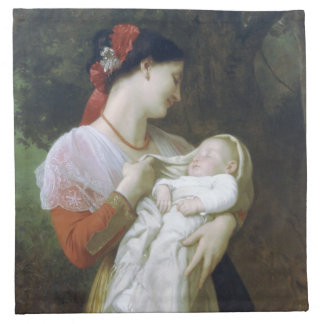 Maternal Admiration by William Adolphe Bouguereau Napkin