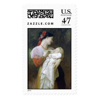 Maternal Admiration by William Adolphe Bouguereau Postage Stamp