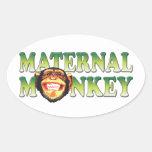 Maternal Monkey Oval Sticker