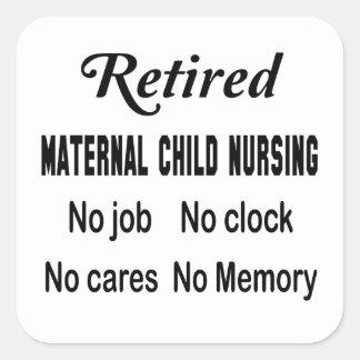 Maternal-niño jubilado no cuidando ningún trabajo pegatina cuadrada