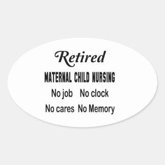 Maternal-niño jubilado no cuidando ningún trabajo pegatina ovalada