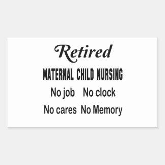 Maternal-niño jubilado no cuidando ningún trabajo pegatina rectangular