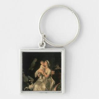 Maternidad, 1805 llavero cuadrado plateado