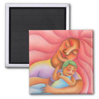 Maternidad acuarela y lápiz de color arte. Mom. 2 Inch Square Magnet