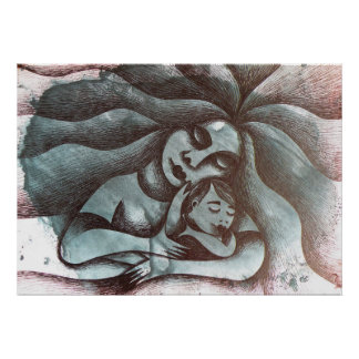 Maternidad sobre fondo abstracto poster