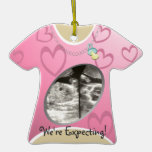 Maternity Shirt/ Pink Christmas Ornaments