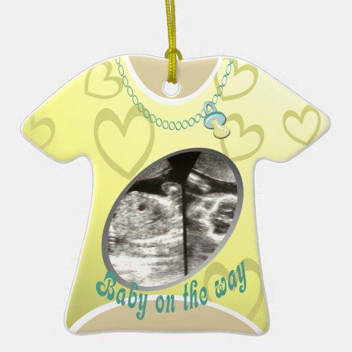Maternity Shirt/ yellow Christmas Ornaments