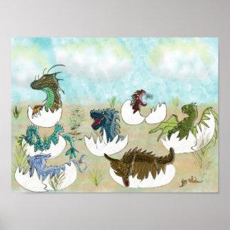 """""""Maternity Ward"""" Baby Dragons Hatching Art Print"""