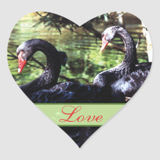 Mates for Life Black Swans Heart Shaped Sticker