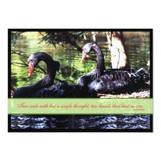 "Mates for Life Black Swans Wedding Invitation 5"" X 7"" Invitation Card"