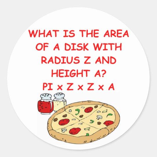 math and pizza classic round sticker