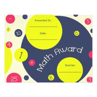 Math Award Student Certificate - Pink Yellow Blue Letterhead