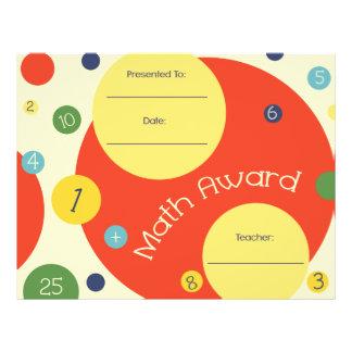 Math Award Student Certificate Polka Dots Letterhead