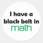 Math black belt round stickers