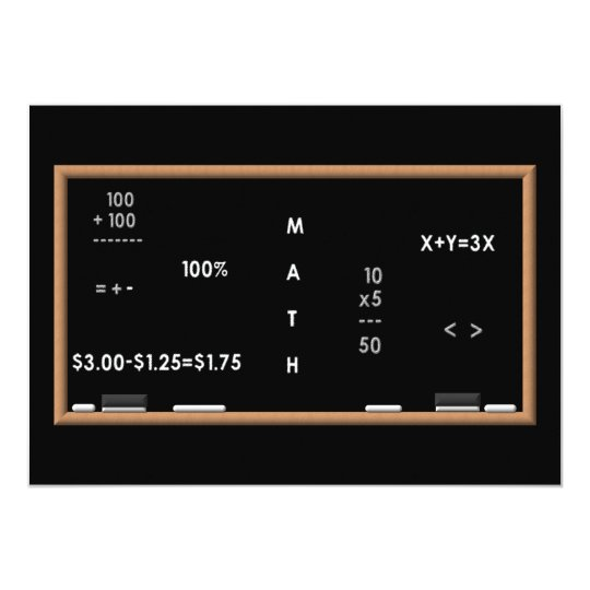 Math blackboard card