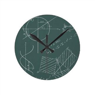 Math blackboard round clock