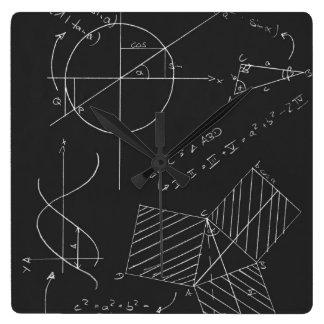 Math blackboard square wall clock