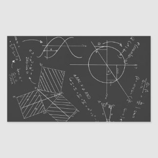 Math blackboard rectangular sticker
