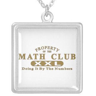 Math Club Square Pendant Necklace