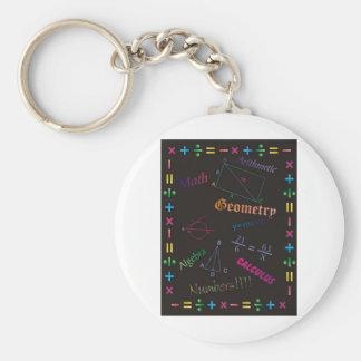 Math Design Black Basic Round Button Keychain