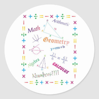 Math Design Classic Round Sticker