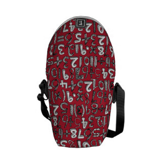 math doodle red courier bag