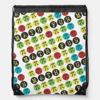 Math equals Fun - Funny Pi Gift - Colorful Mod Pi Drawstring Backpack