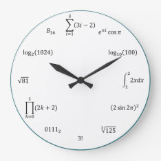 Math Equations And Notations Large Clock at Zazzle