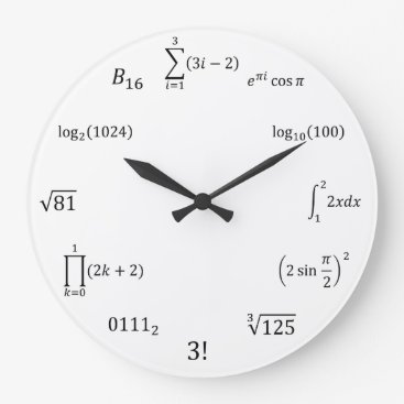 Halloween Themed Math Equations and Notations Large Clock