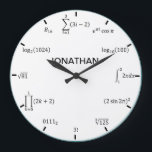 """Math Equations and Notations Large Clock<br><div class=""""desc"""">Our math equation wall clock is the perfect addition to any room! Add a name for a personal touch. Great teacher,  student,  engineer,  and math lover gift idea!</div>"""