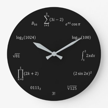 Math Equations And Notations Large Clock by ObjetDArt at Zazzle