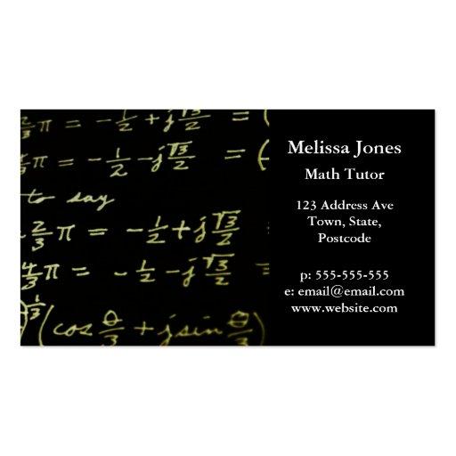 Math equations blackboard maths tutor / teacher business cards