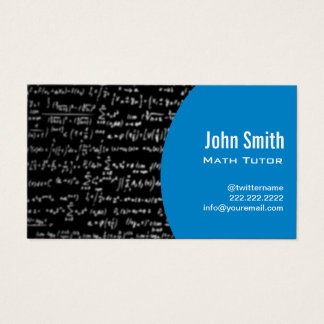 Math Equations Math Tutor Modern Blue Business Card