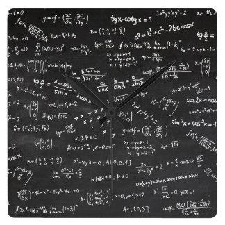 Math Formulas Chalkboard Square Wall Clock