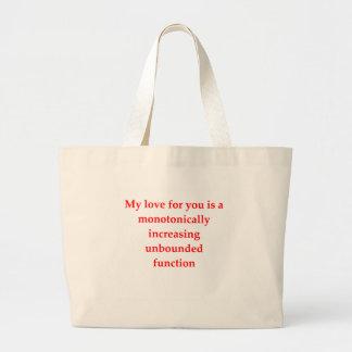 math geek love pick up line canvas bags