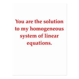 math geek love pick up line postcard