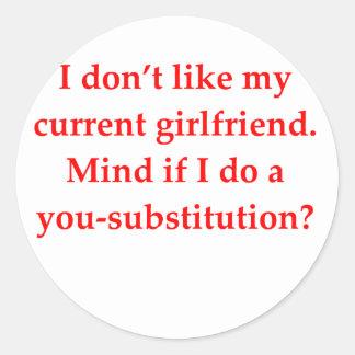 math geek love pick up line round sticker
