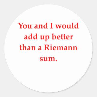 math geek love pick up line round stickers