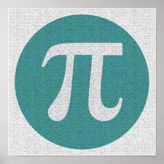 Math geek Pi symbol, blue circle and digits. Poster