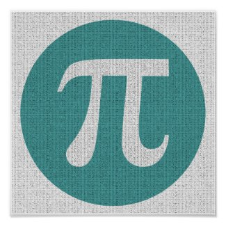 Math geek Pi symbol, blue circle and digits. Print