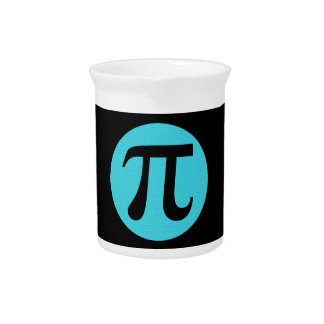 Math geek Pi symbol, blue on black Drink Pitcher