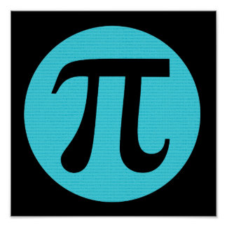 Math geek Pi symbol, blue on black Poster