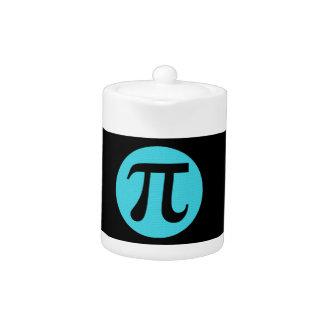 Math geek Pi symbol, blue on black Teapot