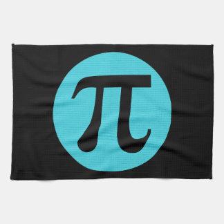 Math geek Pi symbol, blue on black Towels