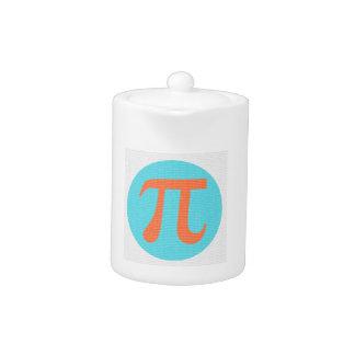 Math geek Pi symbol, orange and blue Teapot