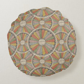 Math Geek's Vintage Multiplication Tables Round Pillow
