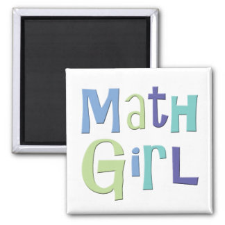 Math Girl 2 Inch Square Magnet